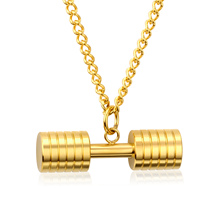 Fashion Gold Color Necklaces& Pendants For Men Stainless Steel Dumbbell Big Punk Jewelry