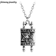 Drop shipping Jewish Hebrew Sefer Torah Scroll Religious Men Pendant Necklace Women With Star Of David