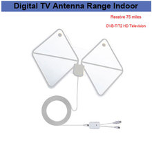 Amplified Indoor HDTV Antenna 75 Miles Range Digital TV Antenna Signal Amplifier Booster Long Range Cable Antenna tv(China)