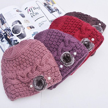 2017 Fashion Crochet Flower Hat Cap Wool Knitted Hats for Women Skullies caps for the Old Lady's Women Gorros(China)