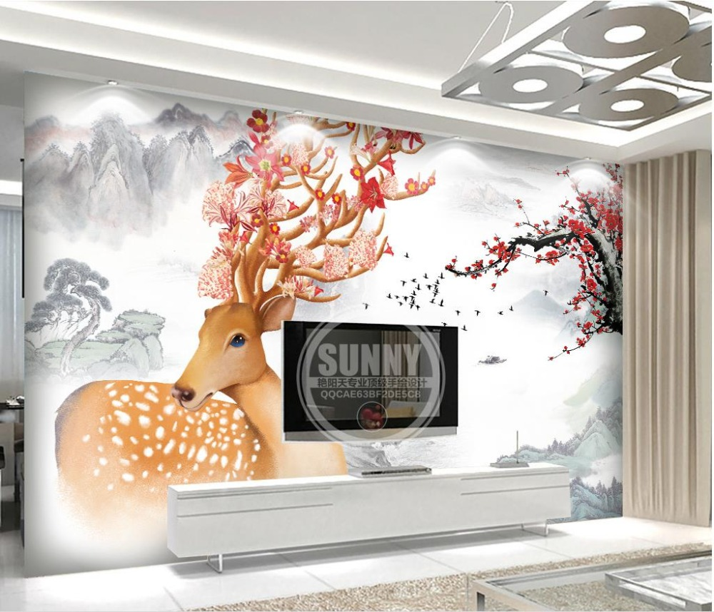 Custom 3d wallpaper Fountain dream forest deer sofa background 3d nature wallpapers for living room wall mural<br>