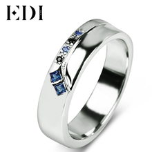 EDI Ruby Gemstone Silver Engagement Ring 925 Sterling Silver White Natural Ruby Sapphire Women Men Wedding Ring Band(China)