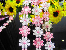 Free Shipping 2.5cm Flower Lace DIY Materil Colorful Pink Flower Lace Trim Baby Headwear Lace(China)