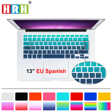 HRH UK/EU ESP Spanish Gradient Rainbow Silicone Keyboard Cover Keypad Skin Protector For Macbook Air Pro Retina 13 15 17 for Mac