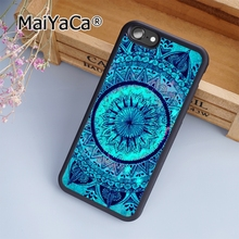 MaiYaCa Turquoise Mandala x Lace Wood 09 Soft Rubber cell phone Case Cover For iPhone 7 phone cover shell(China)