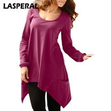 LASPERAL t-shirts Women Fashion Autumn Long Sleeve Casual Irregular Top Tee 2017 Undershirts Womens Clothing Z30(China)