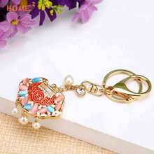 Gift Crystal Baby Lock Keychain Key Holder Auto Pendant Keyring for Abarth BMW Audi Chrysler Daihatsu Fiat Hyundai ISUZU LADA(China)