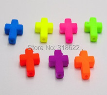 7colors for choosing 100Pcs Mixed Fluorescent Neon Acrylic Halloween Crosses Beads 16X12mm DIY Jewelry Making Bracelet Accessory
