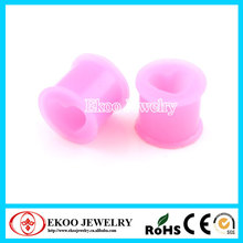 Ultra Flexible Silicone Double Flat Flared Hollow Heart Plug Silicone Ear Plugs 6mm-16mm Lot of 30pcs
