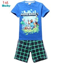 Kids baby Hot 2017 brand cartoon children clothing set plaid kids shorts + t shirts 2pcs boys sport suit set fit for 4-14year