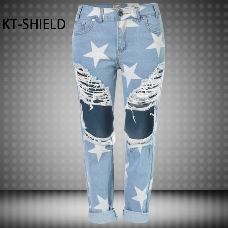 Boyfriend ripped jeans women Five-pointed Star printed fashion Denim straight capris pants girl Mid waist casual pants femaleÎäåæäà è àêñåññóàðû<br><br>