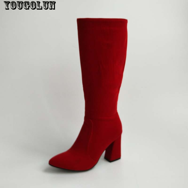 YOUGOLUN Winter Women Knee High Boots Fashion Ladies High Thick Heels(8.5cm) Boot Woman Pointed toe Shoes Sexy Black Red Boots<br><br>Aliexpress