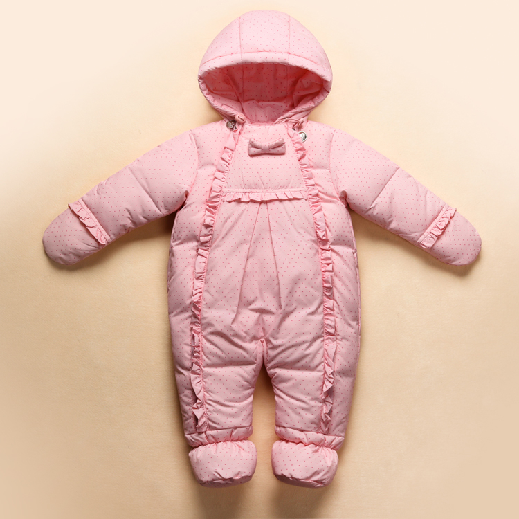 2017 For RU Winter White Duck Down Baby Rompers Baby Snowsuit Infant Boy Girl Cartoon One-piece Outfit Childrens Down Clothing<br>