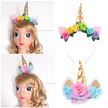 Girls Gold Unicorn Hairbands with Pony Ear and Felt Rose Flower Animal Unicorn Party Stretch Headband and Hair Clips