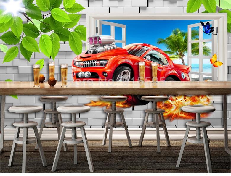 HTB1XiRqjNHI8KJjy1zbq6yxdpXaE - Pastoral Style Children Room Bedroom Wall Decoration Mural Wallpaper 3D Stereoscopic Window Cartoon Car Broken Wall Large Murals