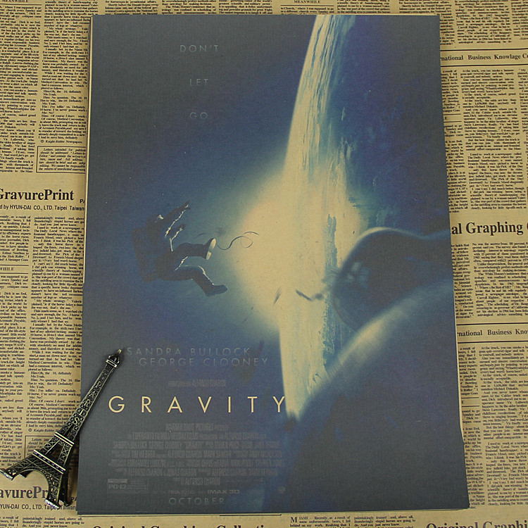 Gravity Space Movie Poster Retro Aerospace Sandra Bullock / George Clooney /wall sticker /kraft poster(China (Mainland))