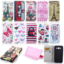 Fashion Wallet PU Leather Flip Cover For Samsung Galaxy E5 E500 Cell Phone Cover With Card Holder Stand Case For Samsung E5 Bag