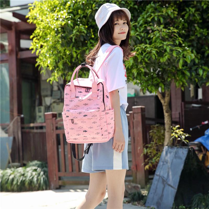 Menghuo Fish Printing Women School Bag Backpack for Teenage Girls Backpacks Female Canvas Children Schoolbag Women Bag s (47)