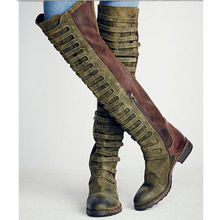 Faux Suede Gladiator Retro Army Boots Over The Knee Women Snow Boots Winter Thigh High Boots Shoes Woman Green botas Size 35-43
