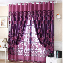250cm*100cm Print Floral Voile Door Curtain Window Room Curtain Divider Scarf Coffee Hot Pink Purple background shop window