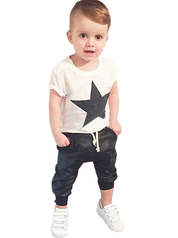 2017 New Hot White High Quality Fashion Style Boy Spring Summer Geometric Shorts And Pants Sets Children Outfits WT81338<br><br>Aliexpress