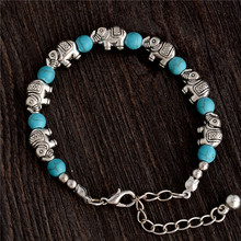 H:HYDE Nice Shipping Hot Sale Retro Elephant Adjustable Chain Bead For Ladies Natural stone Bracelet