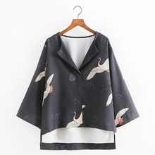 Vintage Cranes Animal Floral Pattern Blouse Lapel Pullover Loose Kimono Shirt Trendy Women Three Quarter Sleeve Tops SY17-01-04