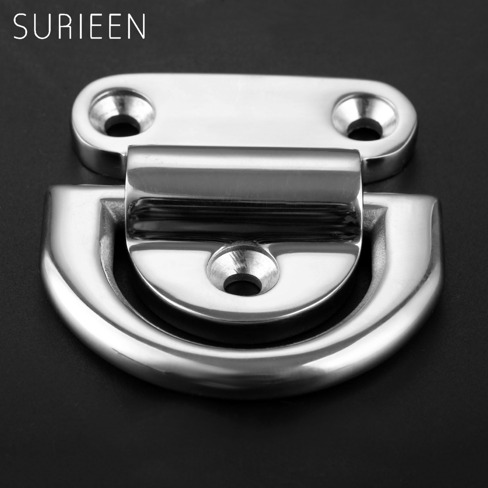 SURIEEN Marine Boat Yacht Stainless Steel Folding Pad Eye Deck Lashing Ring D-ring With Cleat Plate Boat Hardware Accessories