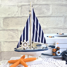 Mediterranean Wooden Sailboat Blue White Stripe Saling Ship Model Crafts Gifts Home Nautical Decor