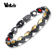 Vinterly Gold-color Black Heart Design Stainless Steel Health Bio Magnetic Germanium Bracelets Bangles For Women Chain Link(China)