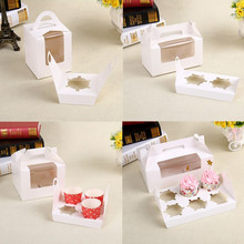 50 Pcs White Paper Muffin Cake Box With Handle&Clear Window /Cupcakes Box/Cup Cake Packing