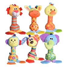 1pc soft baby plush toy cartoon animal teether rattle squeaker BB sounder early educational brinquedos juguetes bed stroller