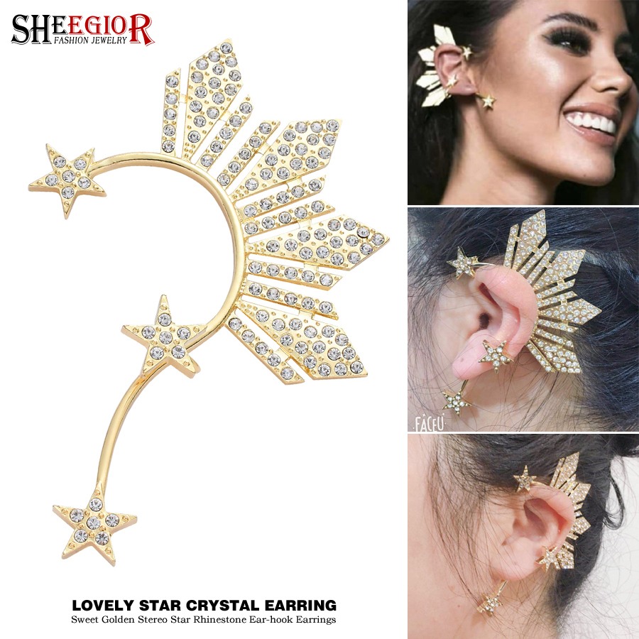 Earrings Jewelry Ear-Clip Crystal Women-Accessories Golden-Star Rhinestone-Stars Fashion title=
