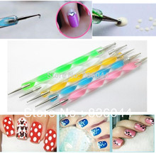 Hot 1pc 2 ways Stylo Dotting Pen Dot Paint Marbleizing Polish Nail Art Manicure Tools Be Used On Natural Nails Pro