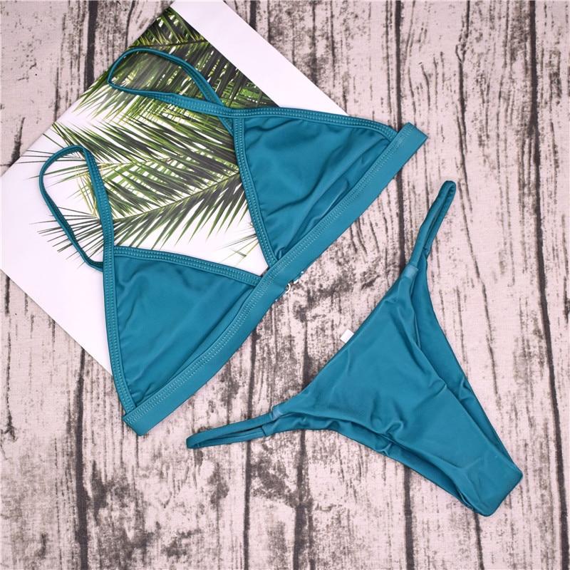 19 Sexy Bikini Set Brazilian Cut Swimsuit Women Swimwear Halter Biquinis Retro Style Cheeky Simple Thong Bikinis Hot maillot 19
