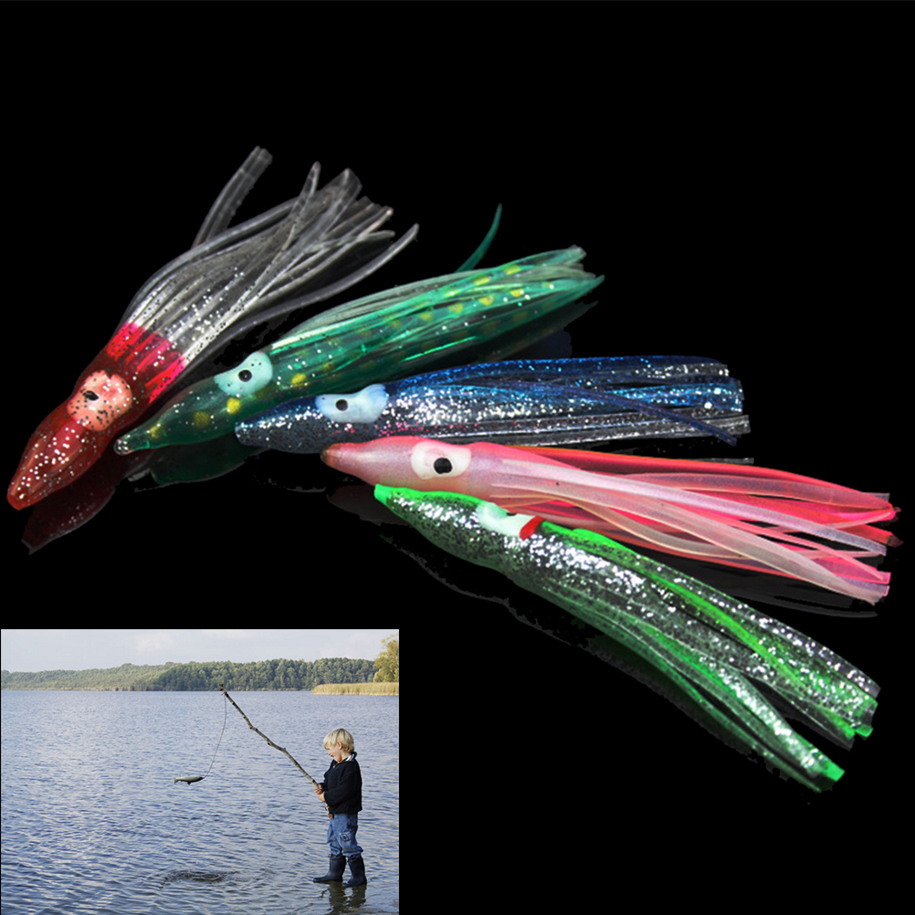 5Pcs Colorful Fishing Lures Set Octopus Baits Combo Squid Skirt Lure Trolling Bait Fishing 8cm Soft Lures