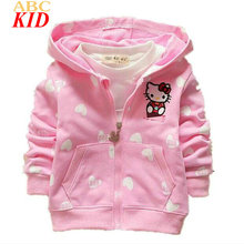 2017 New Design Hooded Jackets Baby Girls Cartoon Hello Kitty Cardigan Coats Loving Heart Print Outfits Moletom Infantil BTP012
