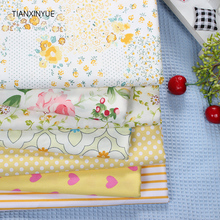 TIAXNINYUE 7 pcs Butterfly Flower Fabric 40*50cm cotton fabric Bundle quilting tilda fabric for patchwork fabric bed sheet cloth(China)