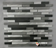 3Dsilver mixed gray&black color alloy aluminum metal mosaic mesh backing for kitchen/TV background walldecor border tile,LSALE06