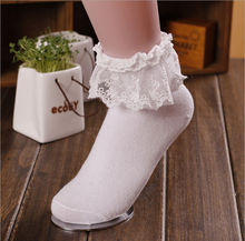 1Pair Fashionable Lovely Cute Fashion Women Vintage Lace Ruffle Frilly Ankle Socks Lady Princess Girl Favorite 6 Color Available(China)