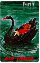 Air India Perth Black Swan Australia Travel Tour Retro Vintage Poster Canvas Painting DIY Wall Paper Posters Home Decor Gift(China)