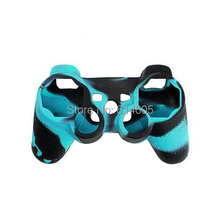 Ice Blue Camouflage Silicone Skin Case Cover for Sony PS2/3 Wireless/Wired Controller(China)