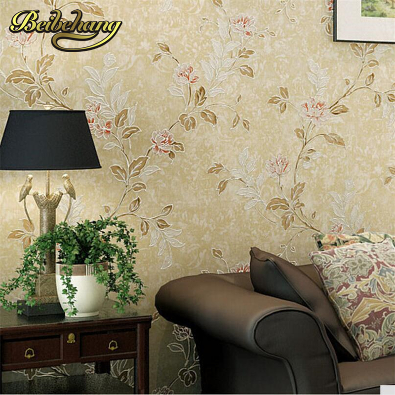 beibehang Non-woven Wallpaper American village style wallcovering floral pattern Luxury European wall paper papel de parede list<br>