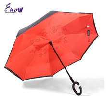 Double Layer Inverted Umbrella Silkclo Creative Windproof Uv protection Reverse Umbrella Straight Umbrella with C-shaped Hands