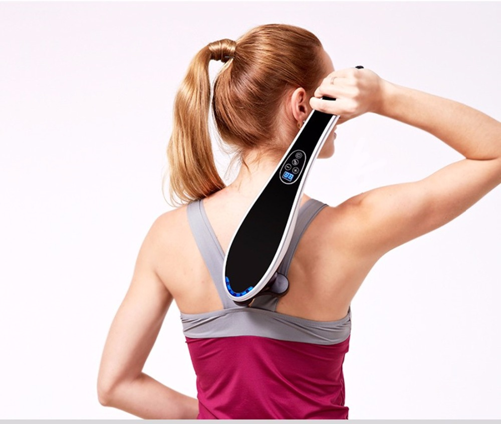 Dolphin Shape Electric Cervical Massager Four Massage Head Vibrating Neck Waist Cervical Spine Treatment Body Massage Device<br>