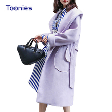 Autumn Fashion Women Woolen Coat Hooded Female Purple Long Sleeve Elegant Poncho Coat Overcoat Tops Outerwear Jackets Pockets(China)