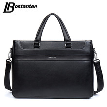 BOSTANTEN Men Briefcase New Soft GenuineLeather Handbags Men Shoulder Messenger Bag Crossbody Bag Travel Bag Leather Laptop Bag