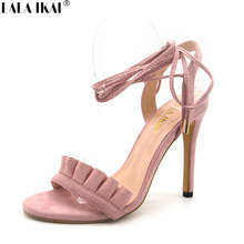 LALA IKAI Women Sandals High Heels Fashion Ruffle Cross Strappy Lace-up Summer Pumps Thin Heel Party Wedding Shoes XWC1100-5(China)