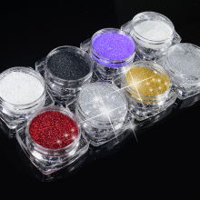 Hot selling 2g/Box 8 colors Holographic Nail Glitter Powder Shining Sugar Nail Glitter Dust Powder Nail Art Decorations Set