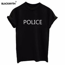 POLICE Letter New Cotton Funny Casual Women Tshirt For Lady Top Tees Hipster White Black(China)